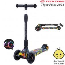 Детский самокат Tech Team Tiger Print 2021 Чёрный со светящимися колёсами