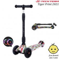 Детский самокат Tech Team Tiger Print 2021 Белый со светящимися колёсами