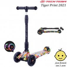 Детский самокат Tech Team Tiger Print 2021 Жёлтый со светящимися колёсами